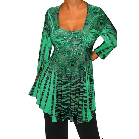 7c67d2b5d13 Funfash Plus Size Emerald Green Empire Waist Top